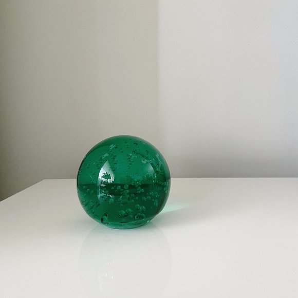 Vintage Green Glass Orb Paperweight